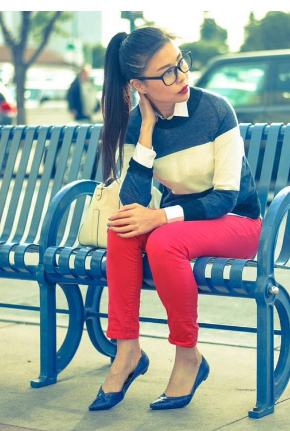 Discover this look wearing Blue Stripe ALC Sweaters, Red Denim Zara Jeans,  Blue Pointy Sam Edelman Flats tagged jobb - January Stripes by  goodbadandfab ...