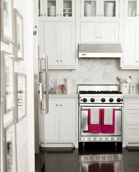 Use Hot Pink Dish Towels And Flowers To Pop In White Kitchen Upper CabinetsGlass