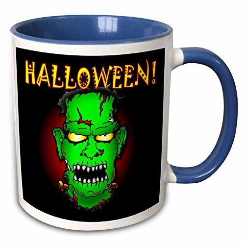 Mark Grace HALLOWEEN monsters - FRANKENSTEIN halloween 1 on black - 11oz Two-Tone Blue Mug (mug_53346_6) @ niftywarehouse.com