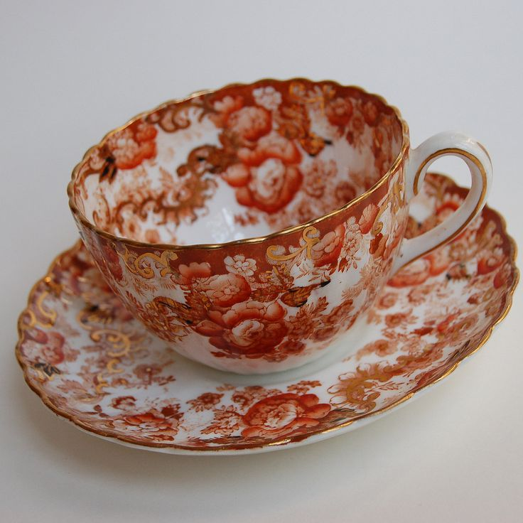 victorian teacups and saucers | Vintage Fenton Radfords Victorian Tea Cup and Saucer Rust and Brown ...