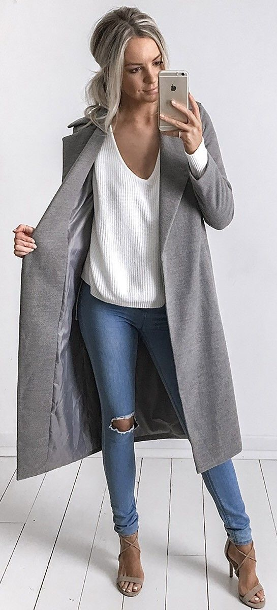 a v neck white sweater wearing with a midi grey coat where to buy all these things