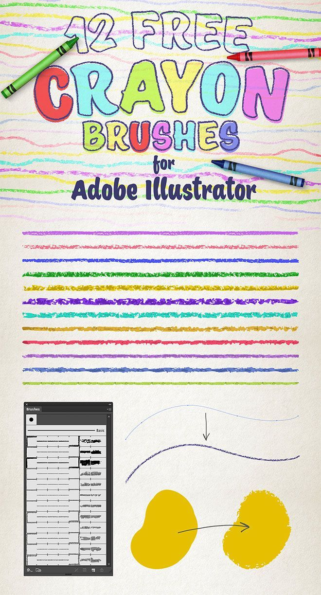 12 Free Wax Crayon Effect Brushes for Adobe Illustrator. #vector #design #illustration