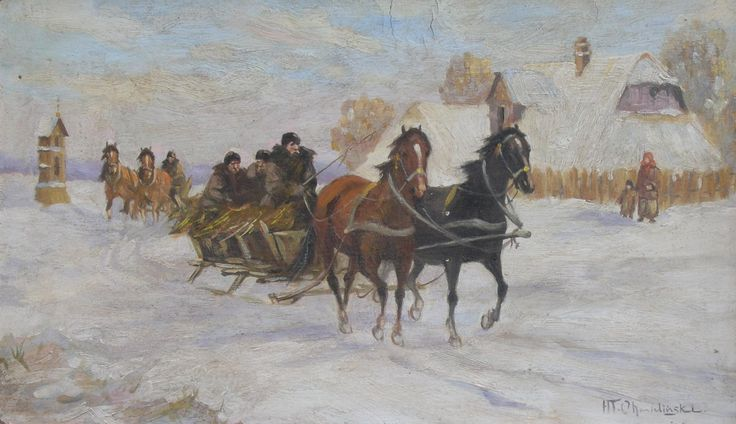 Władysław CHMIELIŃSKI (STACHOWICZ) ,Sanna , olej, tektura, 24,5 x 42 cm