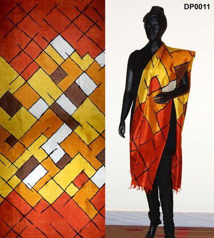 Yellow shaded Hand Painted Silk Dupatta – Panache Haute Couture