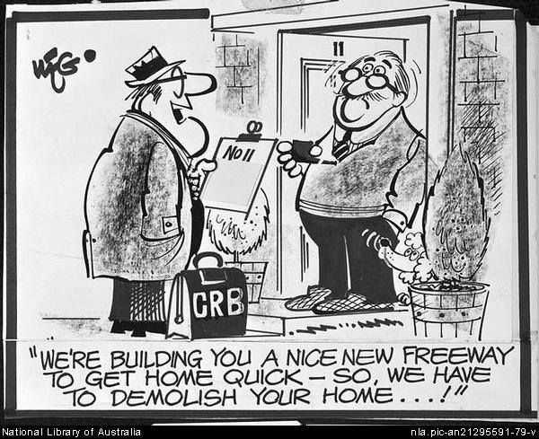 Image: Classic WEG cartoon from 1970s about home acquisitions for freeways. Source: National Archives of Australia.