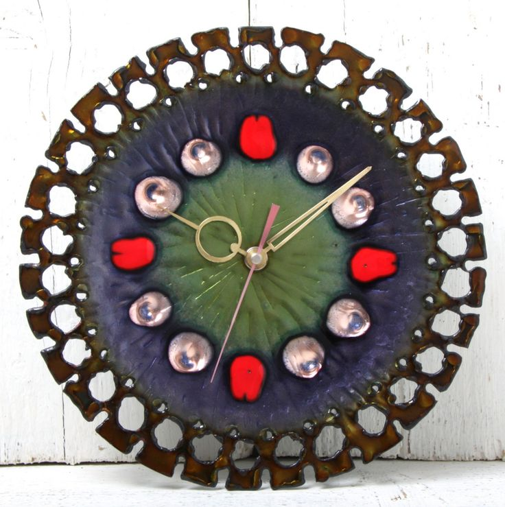Anonymous; Enameled Torch-Cut Copper Wall Clock by Studio Laurana Rame D' Arte, 1960s.