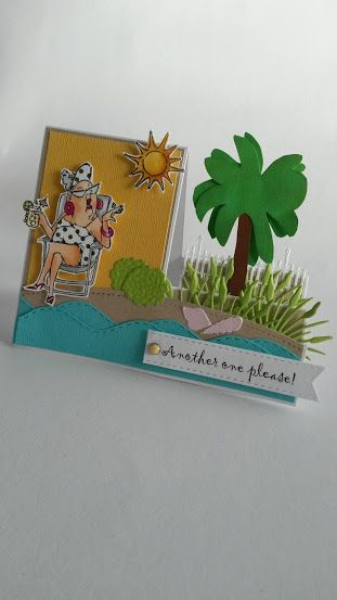 Art Impressions Rubber Stamps: Ai Girlfriends: Beach Babes set. Hampton Art clear stamp set. Girlfriends handmade card