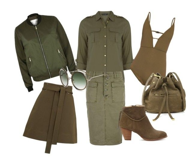 Khaki - love at first wear by lety17 on Polyvore featuring Dorothy Perkins, River Island, Whistles, J Brand, Zimmermann, Sole Society, Jérôme Dreyfuss and Chloé