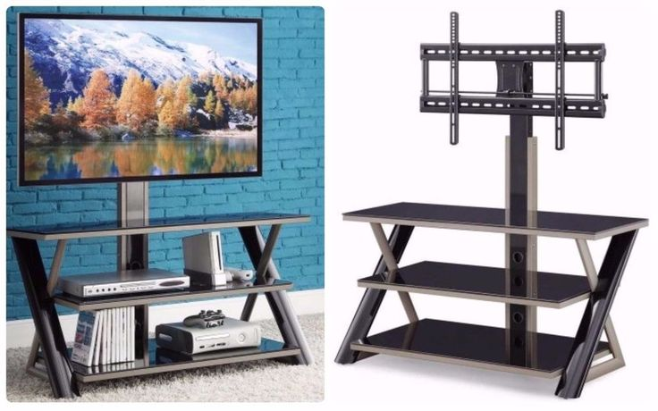 FYI: Modern Swivel Tv Stand Spacious 3 Shelves Media Entertainment Silver Black