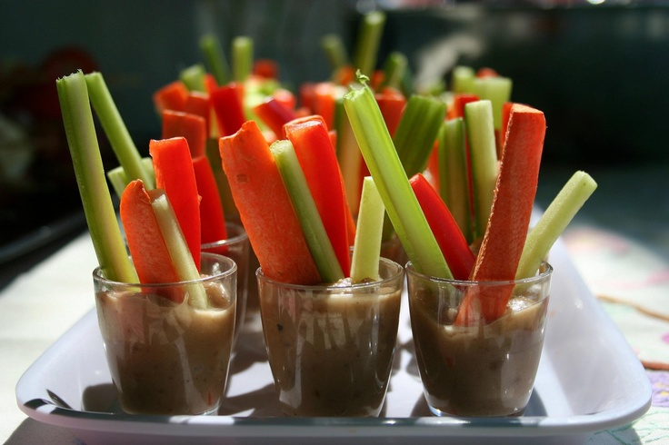 How clever - Salad sticks with a Peanut dipping Sauce!