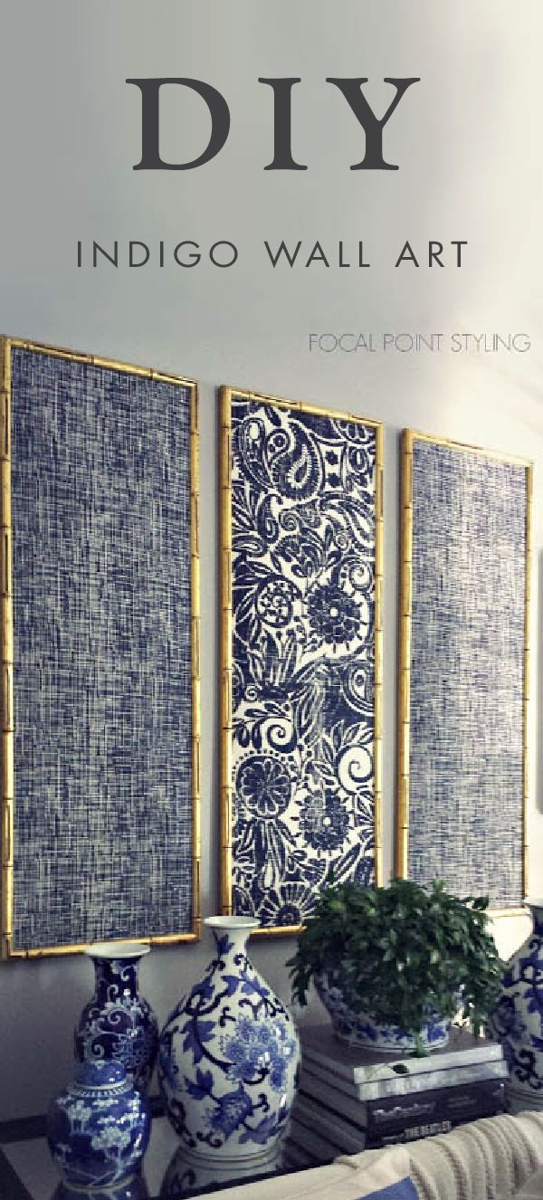 Don't you just love it when decor speaks to your personal style? Add this DIY indigo wall art with framed fabric to your living room for an easy homemade design project that will have you feeling like an interior design professional in no time.