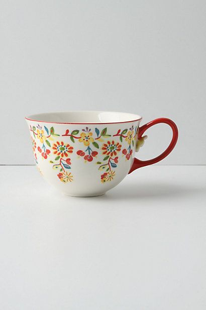 I got two of these awesome mugs at a thrift store.  One I broke the handle off before I even got home and the other is chipped like crazy on the insided and we can't use it.  BUMMER  Cadiz Mug #anthropologie