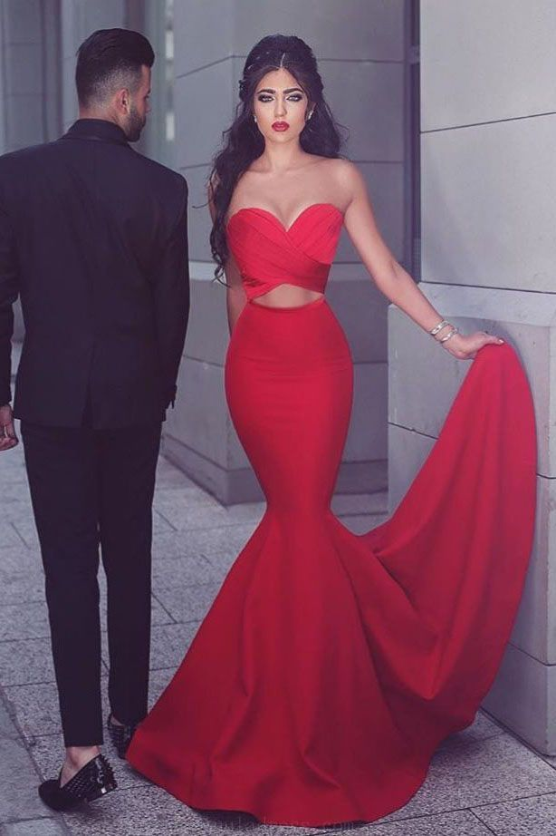 20429bc5e89 Hot Sale Admirable Prom Dresses Mermaid Gorgeous Strapless Mermaid Red Long Prom  Dress Evening Dress