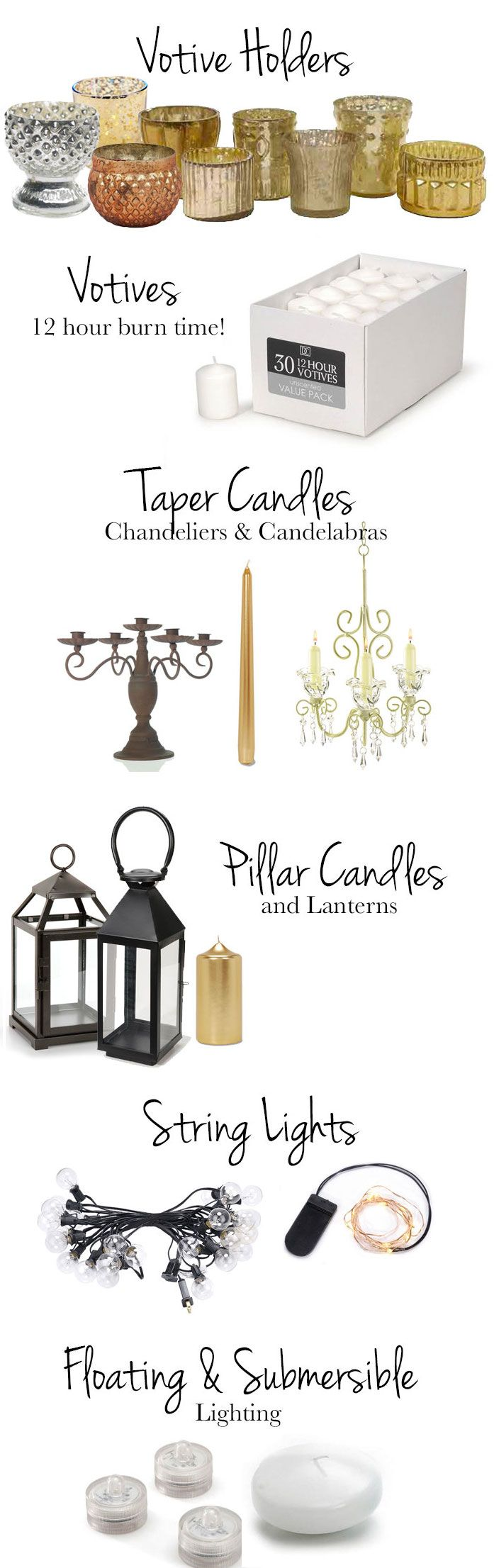 Decorate your wedding in romatic lighting like gold votives and chic candelabras, from Afloral.com