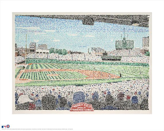 Wrigley Field poster (16x20 Standard size for framing) is an open edition print by artist Daniel Duffy. It was completed using his unique word art style. Through the use of words, in this every player who has played for the Chicago Cubs (Until Aug 1,2015) he has masterfully created this image. Incredible but true, this is the legendary Friendly Confines composed entirely and exclusively of the names of every Cubs player in franchise history from 1876 up through July of 2015—which, as…