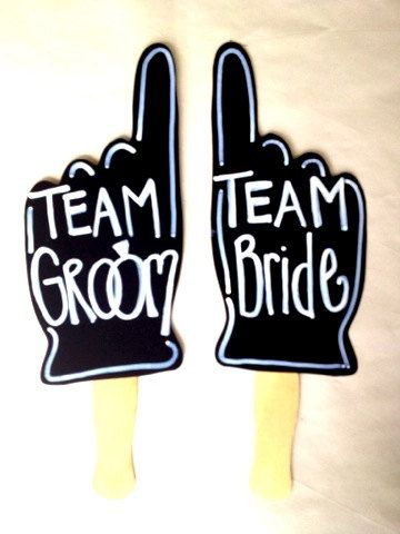 TEAM Bride Team Groom photo props With Writing Already On It or Ready to Write customizable weddings Decor. $14.95, via Etsy.