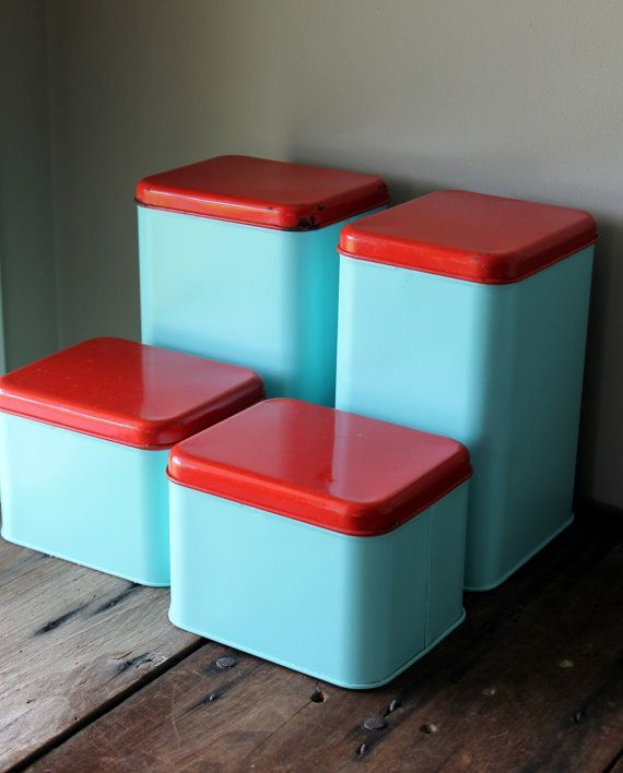 Metal Canister Set Vintage Blue Turquoise Aqua Red Retro Kitchen Decor  Storage Container Upcycled Painted