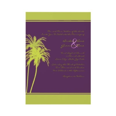 Lime Green and Purple Tropical Palms Invitation  Simple and elegant, this tropical wedding invitation features bright lime green and purple colors with the image of two palm trees. Great for tropical destination and beach weddings! Totally customizable text allows you to use this unique invitation for any occasion in addition to weddings!