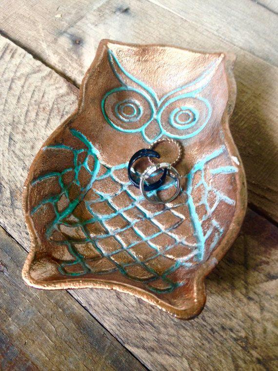 Vintage uil Ring schotel houder - uil lepel Rest - sieraden schotel - Decor van het huis van de uil - Trinket Dish - verlovingsring Holder - uil Zeepdispenser