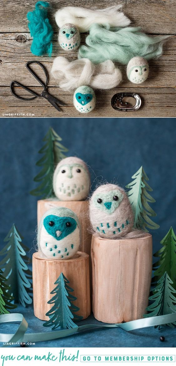 Learn how to make some adorable DIY felt owls - Lia Griffith - www.liagriffith.com #needlefelting #felt #diyfelt #diyfelting #feltcute #feltanimals #diyidea #diyideas #diyproject #diyprojects #madewithlia
