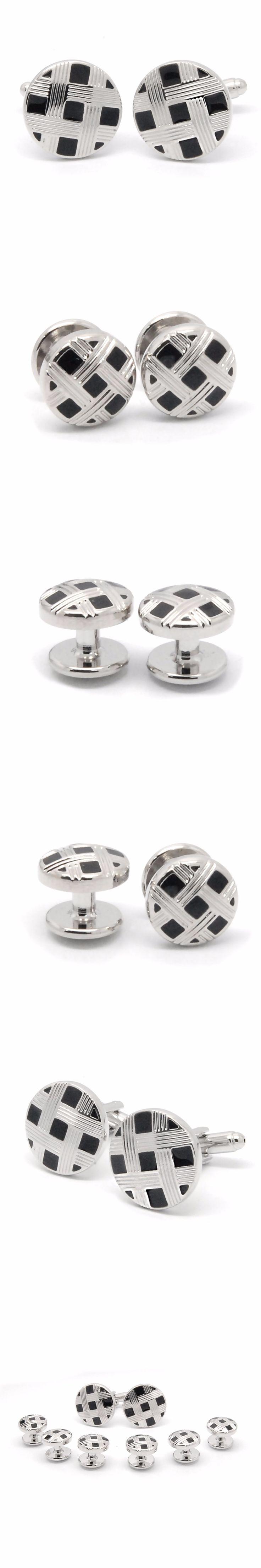 Silver And Black Cufflinks Set High Quality Copper Cufflink Men Shirt Cuff Links Wedding Groom Gift