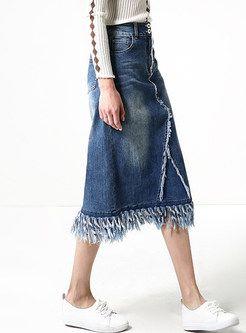 Blue Tassel High Waist Denim Skirt