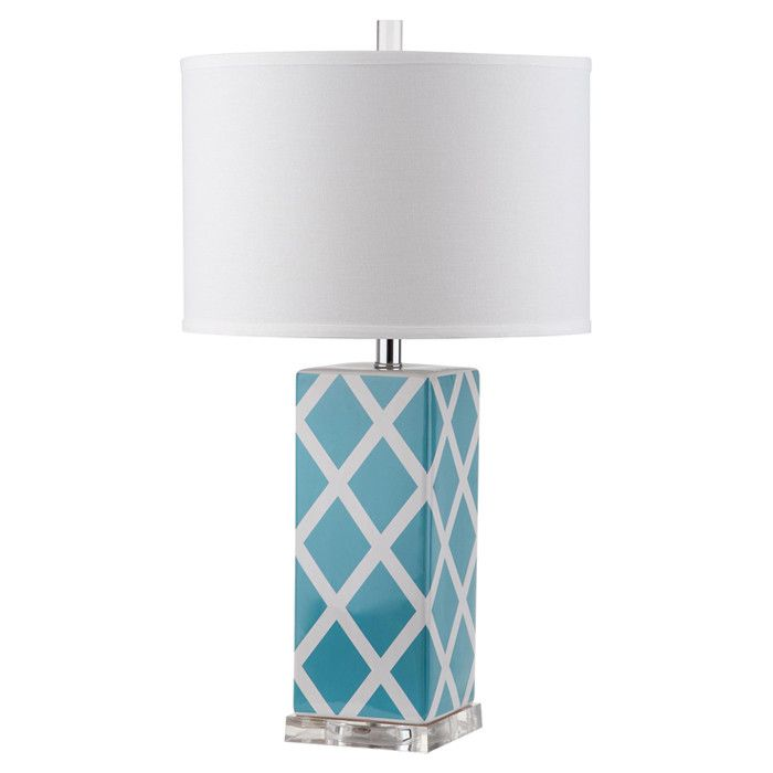 Blue table lamp with lattice pattern