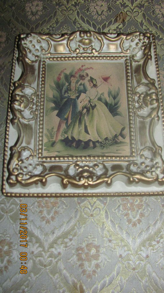 REDUCED Vtg Ornate Shabby Gesso Look Baroque Designs Framed Victorian Couple Fancy Attire Print Ornate Plastic Picture Frame