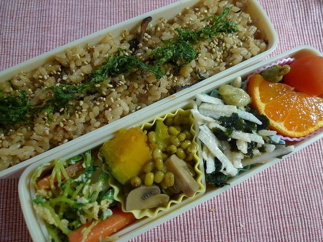 - Okinawa Juicy Rice with Blue Seaweeds  - Sprout, Carrot, Radish and Eggs  - Pumpkin, Mushroom and Mung Bean  - Taro and Seaweeds  - Mandarin, Potato and Pickles