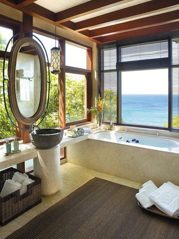 Tropical style bathroom // Shangri-La's Boracay Resort #kouboo