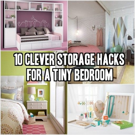 10 Clever Storage Hacks For A Tiny Bedroom Storage Ideas Space Saving Pinterest Posts