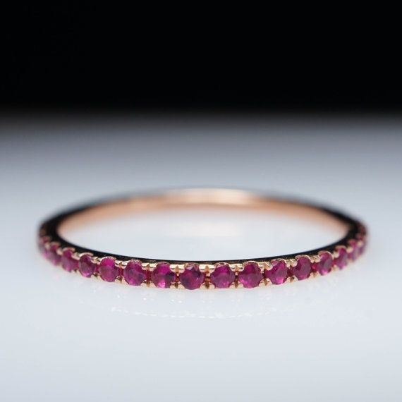 Stunning .39ct Red Ruby Eternity Wedding Band by JamieKatesJewelry