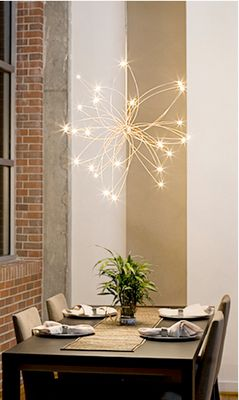 DIY Lighting Idea: Wire hanger, white spray paint and white xmas lights.