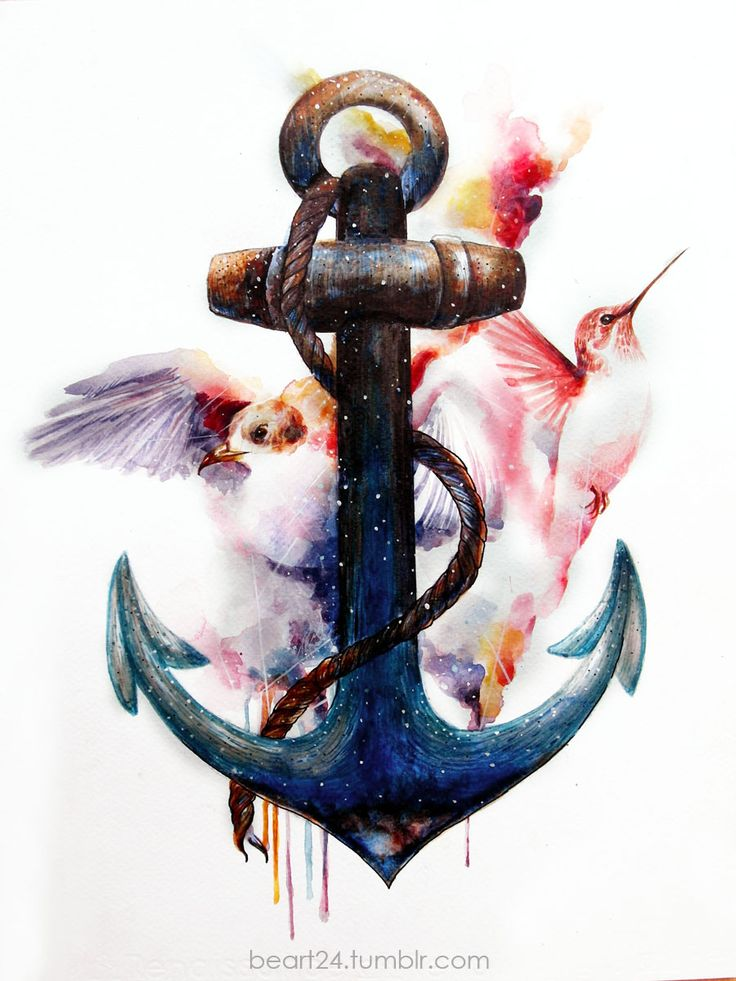 Love this anchor, it is the favorite one i have seen yet!... Beart24 - Watercolor Artworks, seagull & hummingbird with an anchor