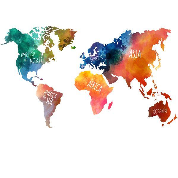 vinilo de pared mapamundi continentes