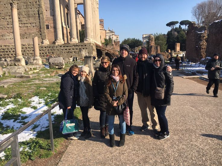 It's not often that the snow settles in the Roman capital city but after 6 years it finally did! The day after the snow, our clients visiting the Roman Forum with our guide Valentina. This was great because our clients could see the ancient roman ruins including the temple of Julius Caesar. For more information about our Colosseum underground tour with arena, palatine hill & Roman Forum: www.livitaly.com/tour/colosseum-underground-ancient-rome-tour/?src=pinterest