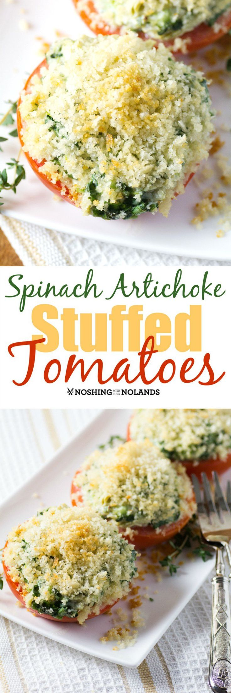 Spinach, Artichoke Stuffed Tomatoes are a gorgeous Cajun-Creole side dish that goes with any entree. They are perfect for summer entertaining enjoying big beautiful heirloom tomatoes.