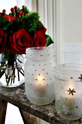 How to Make Frosted Mason Jar Votives