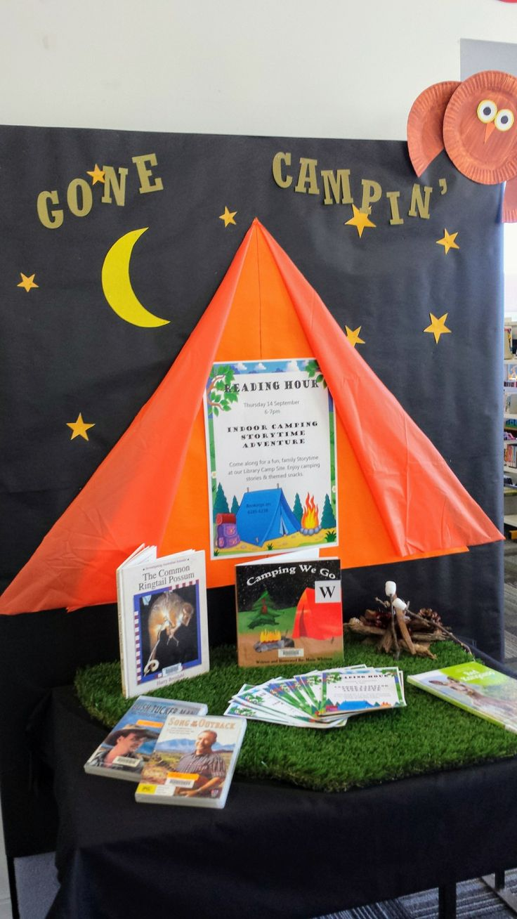 Reading Hour 2017 Camping display Queanbeyan Palerang Libraries
