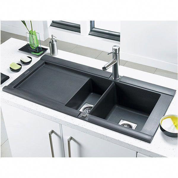 Astracast Geo 1 5 Bowl Single Drainer Kitchen Sink Left Handed Volcanic Black 0 Coolkitche Best Kitchen Sinks Composite Kitchen Sinks Undermount Kitchen Sinks
