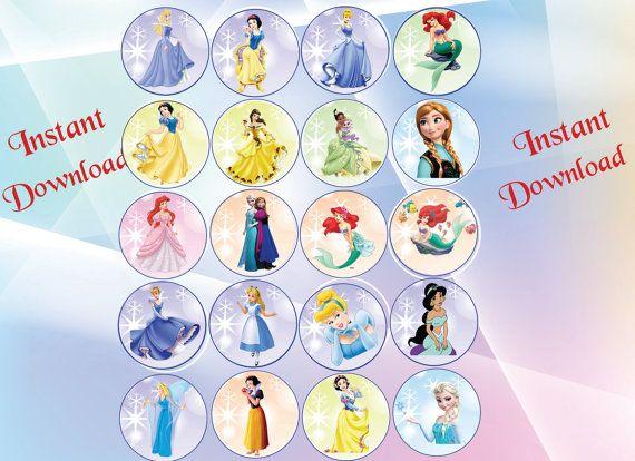 INSTANT DL  Disney Princess Cupcake Toppers Disney prinses