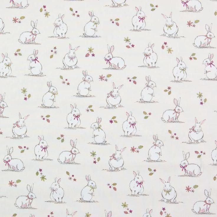 woodland bunnies curtain fabric cream 140cm baby ideas