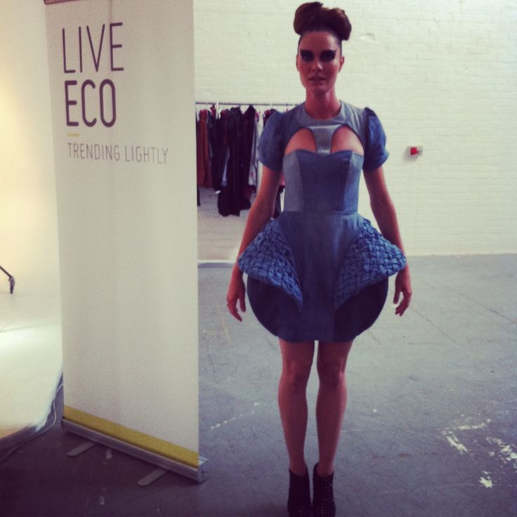 My final look made entirely from old jeans. #denim #liveeco #avantgardedress