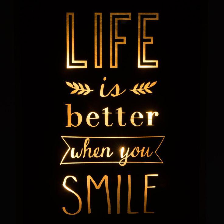 Tableau lumineux en verre noir/doré 30 x 40 cm LIFE & SMILE | Maisons du Monde