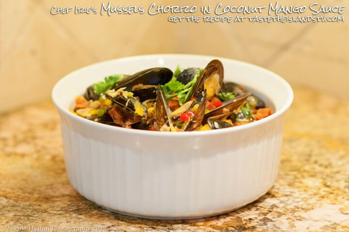 Mussels Chorizo in Mango Coconut Sauce is one of Chef Irie's signature dishes.