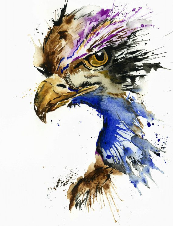GOLDEN EAGLE Watercolour Print by Lisa by LisaWhitehouseArt