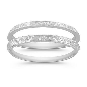 Best 25 double wedding bands ideas on pinterest double band crafted from superior quality 14 karat white gold this vintage inspired design features two bands these gorgeous engraved rings with milgrain detailing junglespirit Images