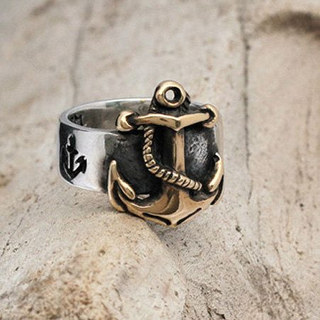 Hey, I found this really awesome Etsy listing at https://www.etsy.com/listing/150331240/nautical-anchor-ring-in-14k-gold-and