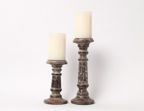 Set of 2 Rustic Candle Stands