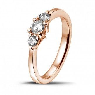 Roodgouden Diamanten Verlovingsringen - 0.45 caraat trilogie ring in rood goud met ronde diamanten